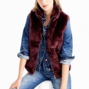 NWT J.Crew Faux Fur Burgundy Vest